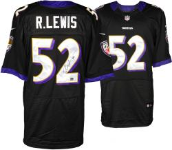 Ray Lewis Baltimore Ravens Autographed Nike Black Jersey - Mounted Memories