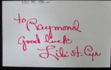 Lili St. Cyr Signed 3x5 Index Card Guaranteed Authentic