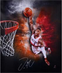 "Damian Lillard Portland Trail Blazers Autographed 20"" x 24"" Dunk Canvas"