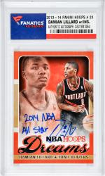 Damian Lillard Portland Trail Blazers Autographed 2013-14 Hoops #23 Card with 2014 NBA All-Star Inscription