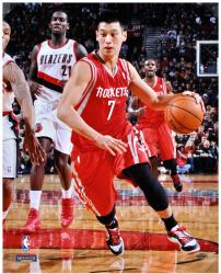 "Jeremy Lin Houston Rockets Autographed 16"" x 20"" Dribble Photograph"