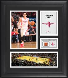 """Jeremy Lin Houston Rockets Framed 15"""" x 17"""" Collage with Team-Used Ball"""