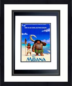 Lin-Manuel Miranda and Auli'i Cravalho Signed - Autographed MOANA 11x14 inch Photo - Guaranteed to pass PSA/DNA or JSA - BLACK CUSTOM FRAME