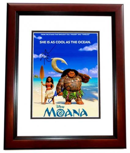 Lin-Manuel Miranda and Auli'i Cravalho Signed - Autographed MOANA 8x10 inch Photo - Guaranteed to pass PSA/DNA or JSA - MAHOGANY CUSTOM FRAME