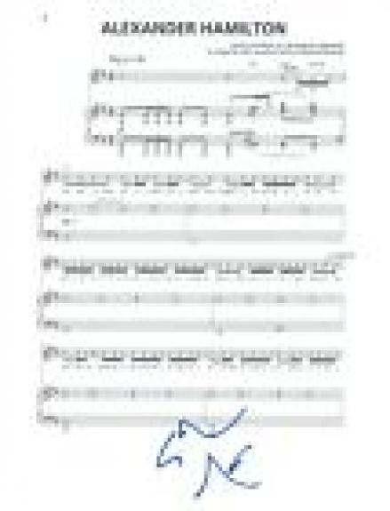 Lin-Manuel Miranda Signed Autograph Hamilton ALEXANDER HAMILTON Music Page COA