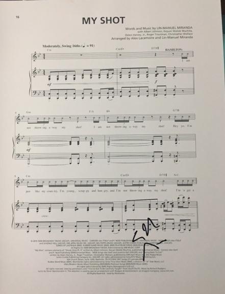 Lin-manuel Miranda Signed Autograph Hamilton My Shot Custom Broadway Sheet Music