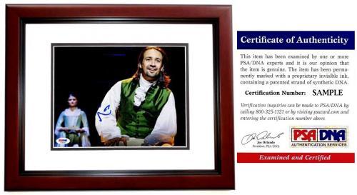 Lin-Manuel Miranda Signed - Autographed HAMILTON as Alexander Hamilton Broadway 8x10 inch Photo MAHOGANY CUSTOM FRAME - Lin Manuel Miranda - with PSA/DNA Certificate of Authenticity (COA)