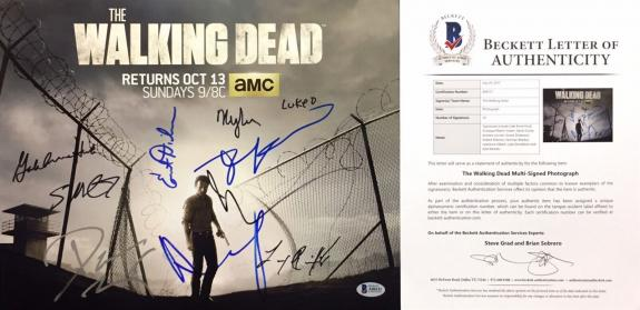 Lincold/Dickerson/Kirkman/Reedus +6 Signed The Walking Dead 11x14 Photo Beckett