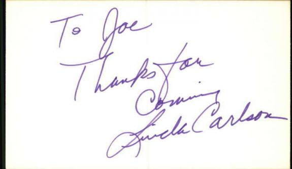 "Linda Carlson Days of Our Lives Signed 3""x5"" Index Card"