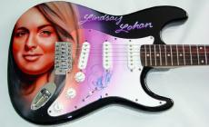 Lindsay Lohan Autograph Signed Airbrush Guitar Proof PSA/DNA