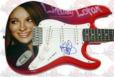LINDSAY LOHAN Autographed Signed Guitar & Proof PSA/DNA