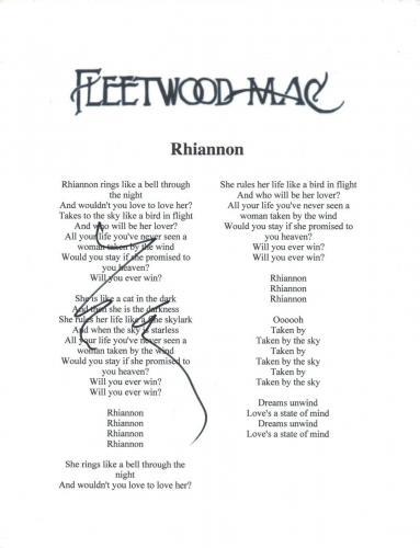 Lindsey Buckingham Signed Fleetwood Mac RHIANNON Song Lyric Sheet COA