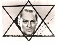 "LIONEL BARRYMORE (ACTOR of STAGE, SCREEN, and RADIO) He was MR. POTTER in ""IT'S A WONDERFUL LIFE"" Signed 10x8 B/W Photo"