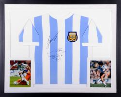 Lionel Messi & Diego Maradona Dual Autographed Deluxe Framed Argentina National Team Baby Blue and White Jersey