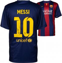 Lionel Messi FC Barcelona Autographed 2013-14 Home Jersey - Signed on Back
