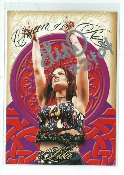 Lita Signed 2003 Fleer WWE Aggression Queen Of The Ring Card #1