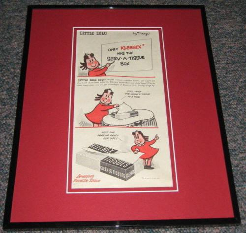 Little Lulu 1948 Kleenex Original Framed Advertisement Poster