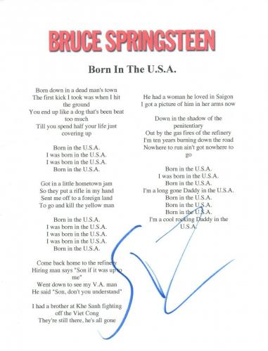 Little Steven Van Zandt Signed Bruce Springsteen BORN IN THE USA Lyric Sheet COA