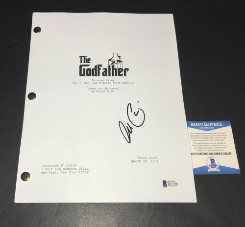 L@@k Al Pacino Signed Autographed The Godfather Full Script Beckett Bas Coa