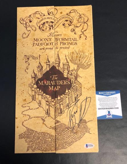 L@@k Daniel Radcliffe Signed Harry Potter Marauders Map Authentic Auto Beckett