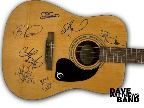 L@@k Dave Matthews Band Signed Acoustic Guitar Bas Coa Dave Carter Stefan + 3