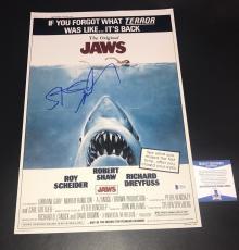 L@@k Steven Spielberg Signed Jaws 12x18 Mini Poster Authentic Autograph Beckett