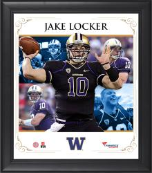 "Jake Locker Washington Huskies Framed 15"" x 17"" Core Composite Photograph"