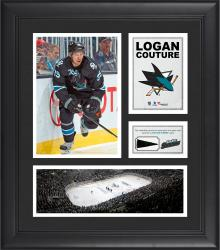 """Logan Couture San Jose Sharks Framed 15"""" x 17"""" Collage with Piece of Game-Used Puck"""
