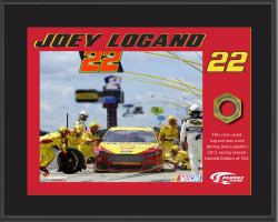 Joey Logano Sublimated 8'' x 10'' Plaque with Lug Nut-Limited Edition of 522 - Mounted Memories