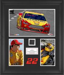 Joey Logano Framed 3-Photograph Collage with Race-Used Tire-Limited Edition of 500 - Mounted Memories