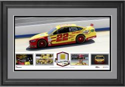 Joey Logano Framed Panoramic with Race-Used Tire-Limited Edition of 500 - - Mounted Memories