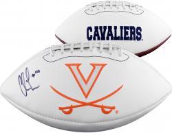Chris Long Virginia Cavaliers Autographed Virginia Logo Football