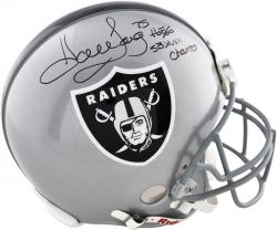 Howie Long Oakland Raiders Autographed Riddell Pro-Line Authentic Helmet with HOF 00,SB XVIII Champs Inscription - Mounted Memories