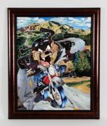 Tasmanian Devil Motorcycle Magazine Collage Art Display Looney Tunes
