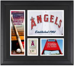 Los Angeles Angels of Anaheim Team Logo Framed 15'' x 17'' Collage with Piece of Game-Used Ball - Mounted Memories