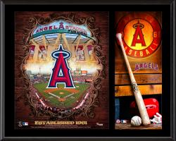 Los Angeles Angels of Anaheim Sublimated 12'' x 15'' Team Logo Plaque - Mounted Memories