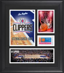 """Los Angeles Clippers Team Logo Framed 15"""" x 17"""" Collage with Team-Used Baseketball"""