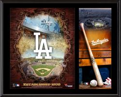 Los Angeles Dodgers Sublimated 12'' x 15'' Team Logo Plaque - Mounted Memories