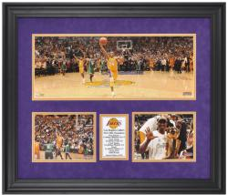 "Los Angeles Lakers 2010 NBA Champions Framed Mini Panoramic with Two 6"" x 8"" Photos"