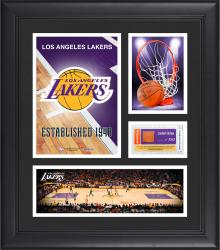 """Los Angeles Lakers Team Logo Framed 15"""" x 17"""" Collage with Team-Used Baseketball"""
