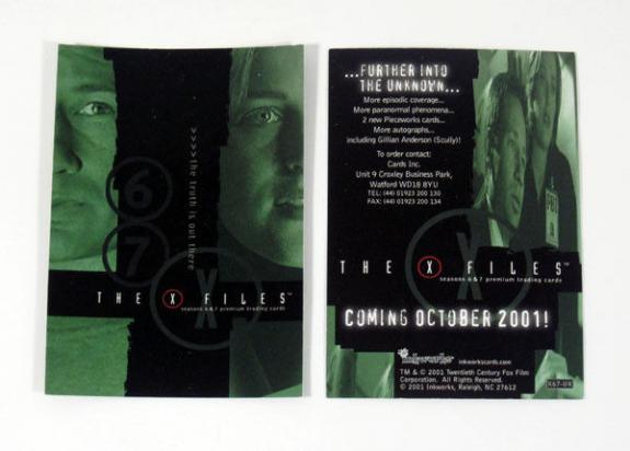 Lot of (50) 2001 Inkworks The X-Files Seasons 6 & 7 Promo Card (X67-UK) Nm/Mt