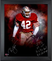 """Ronnie Lott San Francisco 49ers Framed Autographed 20"""" x 24"""" In Focus Photograph with Multiple Inscriptions-#2-41 of Limited Edition of 42"""