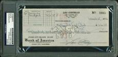 Lou Costello Signed 3x7 1946 Check To The Hollywood Turf Club Psa/dna Slabbed