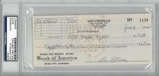 Lou Costello Signed Authentic Autographed Check Slabbed PSA/DNA #83464001