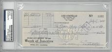 Lou Costello Signed Authentic Autographed Check Slabbed PSA/DNA #83464014