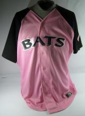 Louisville Bats #40 Game Used Specialty Pink Baseball Jersey