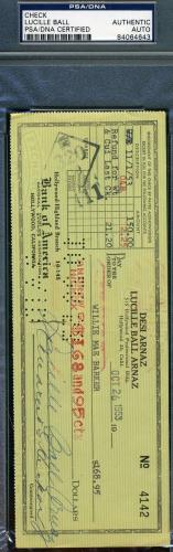 LUCILLE BALL ARNAZ LUCY Hand Signed PSA DNA 1953 CHECK Autograph Authentic
