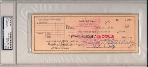 LUCILLE BALL Arnaz Vintage Signed 1957 Personal Check I LOVE LUCY Star PSA/DNA