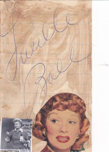 LUCILLE BALL d 1989 Signed 3x5 Index Card Actress/I Love Lucy JSA Z71057*