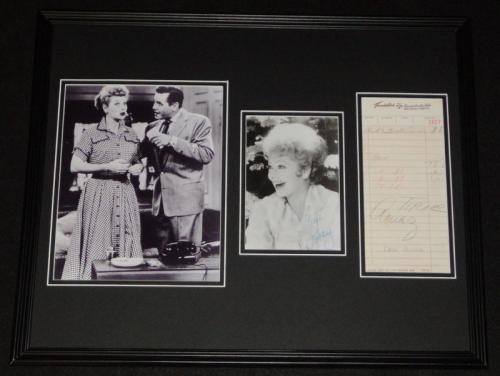 Lucille Ball & Desi Arnaz Dual Signed Framed Photo Display JSA I Love Lucy